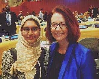 Taha Fathima Khan with Chair of Global Partnership for Education; Former Australian Prime Minister, Julia Gillard